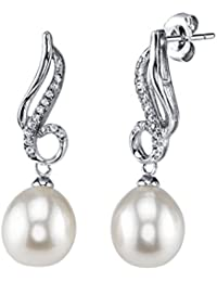 9mm White Freshwater Cultured Pearl & Crystal Romance Earrings
