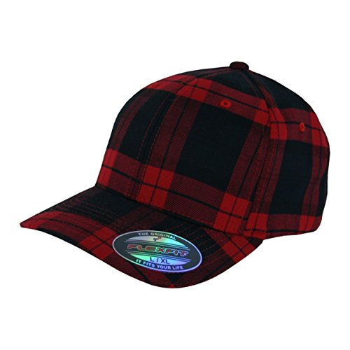 Flexfit Karo Cap Tartan Plaid black red - L/XL