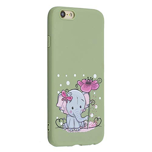 Miagon für iPhone 6S / 6 Hülle,Ultra Dünn Kratzfest Weiche Silikon Stoßfest Flexibel Prägen TPU Rückschale Handyhülle Schutzhülle Case,Elefant Blumen