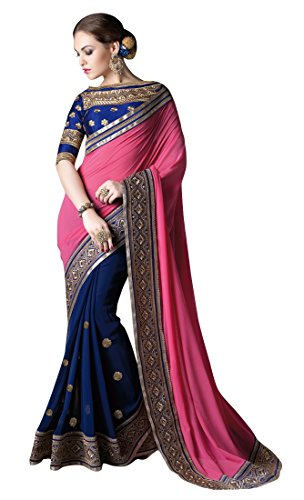 Woman's Georgette Silk Saree with Dupion Blouse Piece
