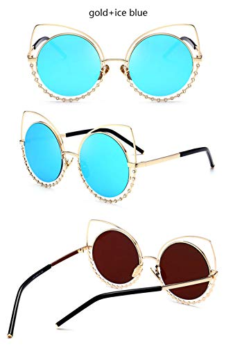Wang-RX Fashion Ladies Oversized Round Cat Eye Sunglasses Women Vintage Luxury Big Frame Sun Glasses For Female