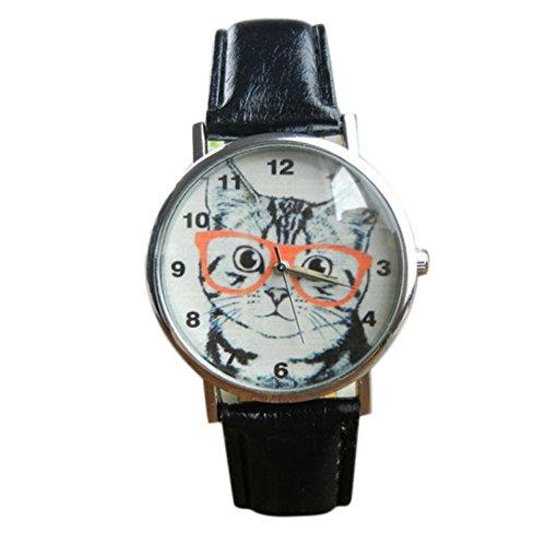 Lucky mall Katze Muster Lederband Analoge Quarzuhr Armbanduhr, Spektakel Katze Gürtel Uhr (Klettverschluss Armbanduhr Casio Analoge)