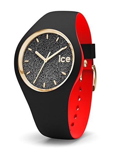 Ice-Watch - ICE loulou Black Glitter - Schwarze Damenuhr mit Silikonarmband - 007237 (Medium)
