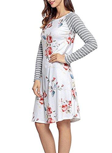 CODIFFEREN Frauen Langarm Kleid U-Ausschnitt mit Blumenmuster Size Retro Stitching Abbildung 3