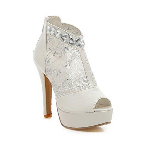 balamasa Fermeture Éclair Mesdames Diamant en verre brevet en cuir Sandales Blanc