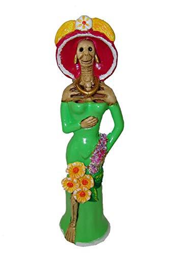 LYTIO Dekofigur aus Ton Catrina, handgefertigt, Sammlerstück, Dia de Los Muertos (Tag der Toten) grün