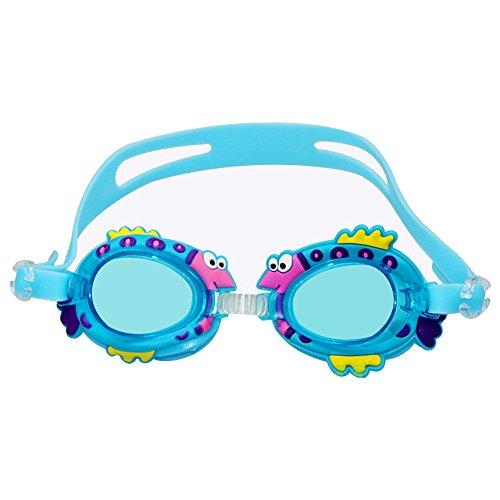 Nicedier-Tech Kind Schwimmen 's, Brillen, Anti-Fog, Wasserdicht, UV-Schutz mit Ohrstöpsel für Kinder, Hellblau