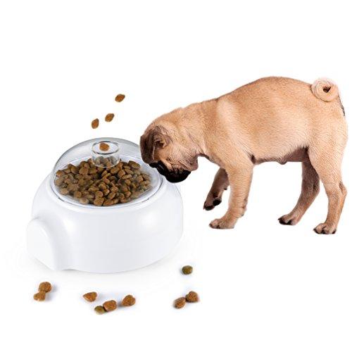 petacc Hundefutter Spender Spielzeug Automatische Hund Leckerli Launcher Pet Food auslaufen Spielzeug, Weiß (Hundefutter Automatische Dispenser)