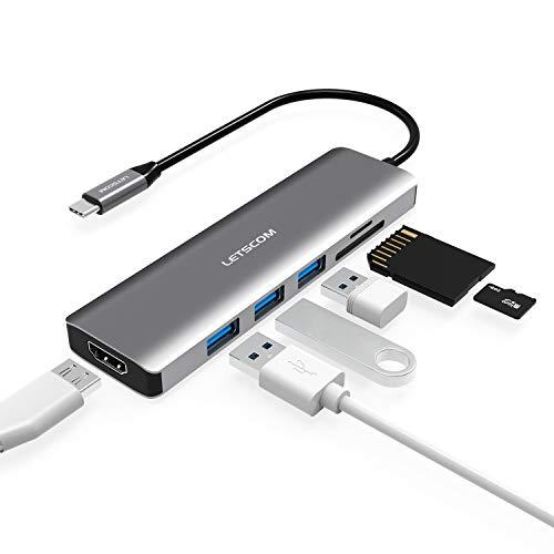 LETSCOM USB C Hub, 6 in 1 USB C Adapter mit 4K HDMI, 3 USB 3.0 Ports, SD/TF-Kartenleser, kompatibel für USB C Geräte