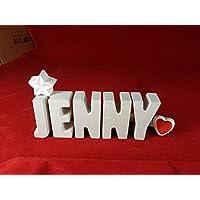 Beton, Steinguss Buchstaben 3 D Deko Namen JENNY mit Stern und Herzklammer als Geschenk verpackt! Ein ausgefallenes Geschenk zur Geburt, Taufe, Geburtstag oder auch zu anderen Anlässen.