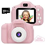 GlobalCrown Mini Les Enfants Caméra Appareil Photo Numériques, Caméscope Antichoc Photo/vidéo pour Filles Garçons de 3 à 10 Ans, Vidéo HD 1080p pour Jeu en Plein air (32G TF Carte Incluse) (Pink)