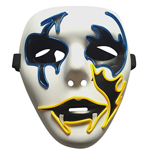 HEVÜY LED Maske mit 6 Blitzmodi für Halloween Fasching Karneval Party Kostüm Cosplay Dekoration (Halloween-feier Disney 2019)