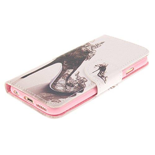 iPhone 6S Plus Hülle,iPhone 6 Plus Hülle, iPhone 6 Plus/ 6S Plus Hülle Ledertasche Brieftasche handyhülle im BookStyle, SainCat PU Leder Wallet Case Folio Schutzhülle Gemalt Muster Hülle Bumper Handyt Schuhe mit hohen Absätzen