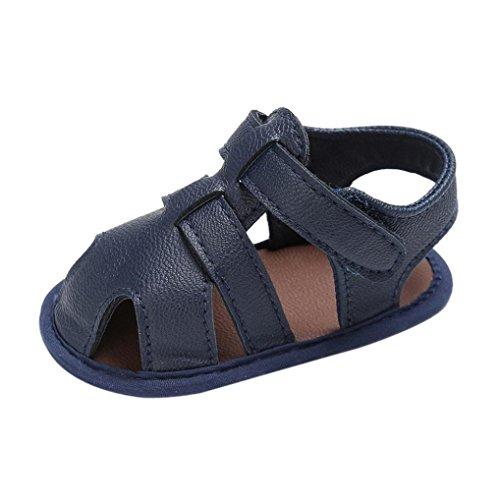 FNKDOR Baby Jungen Sandale Schuhe Rutschfest Lauflernschuhe (6-12 Monate, Marineblau)