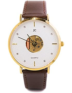 Jean Constantine Quarz Armbanduhr, Braunes Lederband, Federleicht, Modisch, Klassische Zeitlose Uhr, Farbe: Gold-Braun...