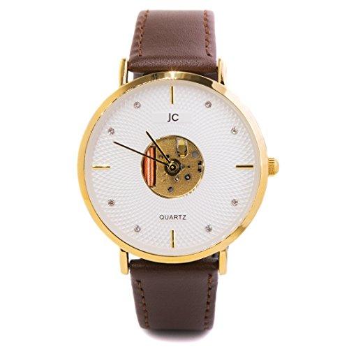 Jean constantine quarzo orologio da polso, cinturino in pelle marrone, resistente e leggero, alla moda, classico senza tempo orologio, colore: oro/marrone, 38mm
