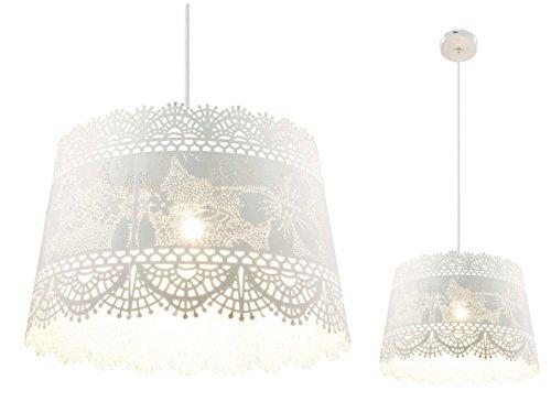 Hängelampe im Landhausstil Hängeleuchte Pendelleuchte Esszimmerlampe Metall Weiß (Blatt-Muster, Pendellampe, Küchenlampe, 35 cm, Höhe 150 cm) - Akzent-dekor-tisch-lampe