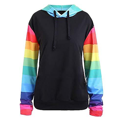 Xmiral Hoodie Pullover Damen Herbst Winter Hooded Sweatshirt Mode Mädchen Pullover (XL,Schwarz)