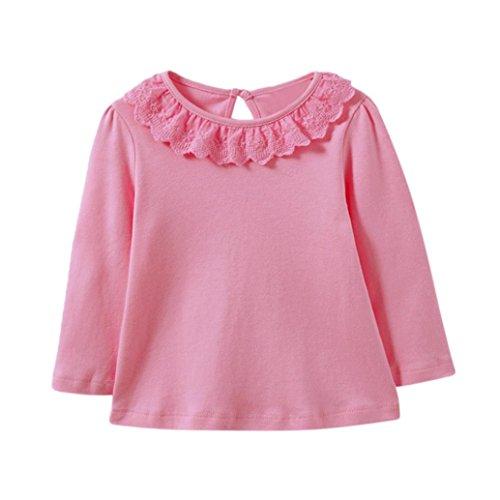 LSAltd Kleinkind baby Mädchen Spitze Rundhals Langarm-shirt Bluse Infant solide Warme Tops T-shirt (9 Monate, Rosa) (Langarm-shirts 9 Monate)