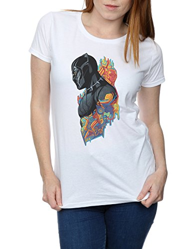 Absolute Cult Marvel Femme Black Panther Profile T-Shirt Blanc