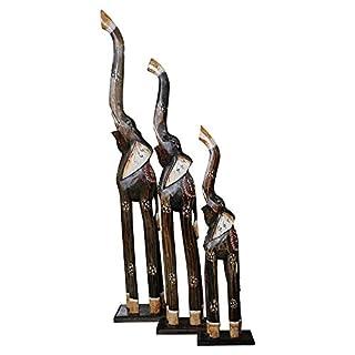 Wohnkult Elefanten aus Holz 3 er Set 100 cm 80 cm 60 cm Holz Elefant Afrika Tierfigur Dekoartikel Skulptur