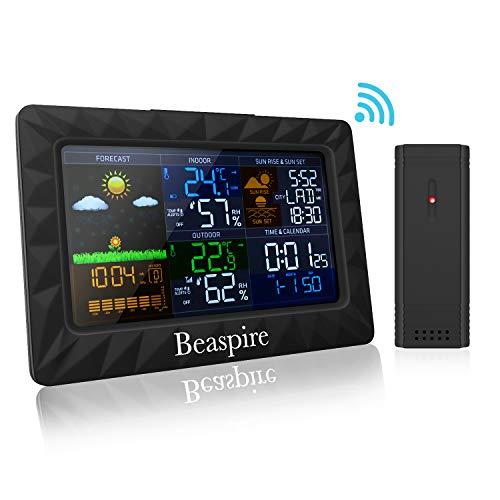 Beaspire Wetterstation Funk mit Farbdisplay, Digital Thermometer-Hygrometer für Innen und außen, inkl. Außensensor,Hintergrundbeleuchtung in Farbe,Schwarz