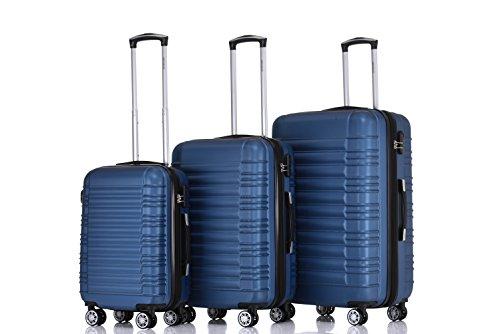 BEIBYE Zwillingsrollen Hardcase Reisekoffer Koffer Trolleys Hartschale in XL-L-M in 14 Farben (Blau, Set)