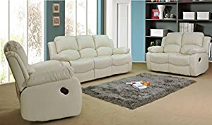 Valencia Cream Recliner Leather Sofa Suite 3+2+1 Seater Brand New 12 Months warranty FREE DELIVERY