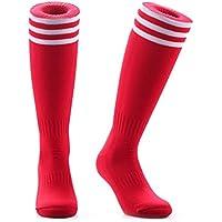 Samson Hosiery ® rojo calcetines de fútbol rodilla alta rayas grandes Hockey Unisex Rugby para hombre