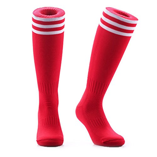Samson Hosiery    Football Knee High Red Striped Socks Hockey Rugby Basketball Gym Stripe Unisex Mens Womens  Large 6-11