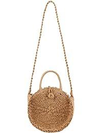 df7d3c873da25 YOUJIAA Frauen Stroh Gewebte Tasche Niedlich Round Umhängetasche für Strand  Sommer Mini Handtaschen Shopper