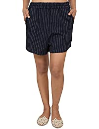 9teenAGAIN Women's Cotton Striped Shorts (Navy)
