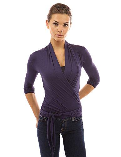 PattyBoutik femmes top tricot décontracté en style enveloppe en manches longues pourpre