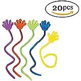 Leisial™ 20 pcs Jouets pour Enfants Vinyle Glitter Mini Sticky Hands Jouets pour Enfants Fête Anniversaires Couleur Assortie