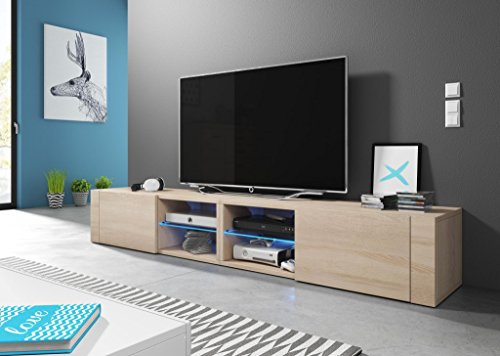Foto de Hit 2 Double – Mueble TV design Coloris roble sonoma. Eclairage a la LED azul.