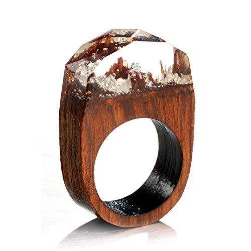 Underleaf Einfache Holzring Paar Ringe Zirkon Kristall Ring Joint Ring Für Frauen Männer (Weiß)