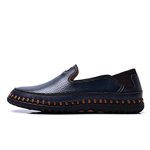 ailishabroy Mocassins Plats Respirants D'Été des Hommes Glissent Sur la Chaussure en Cuir Bleu