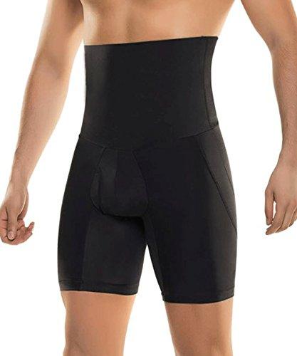 RIBIKA Shorts negros que adelgazan los hombres Pantalones de la talón de la compresión de la panza del control de la cintura alta