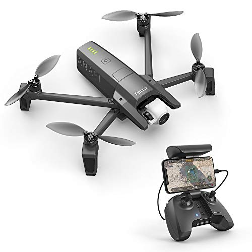 Parrot Anafi - Quadrocopters Dron (4K Hdr, 21 Mpx, Slow Motion and Hyperlapse, 15 M / S, 25 Flight Minutes, Gimbal 180º) + Control + Carrying Case + Sd Card 16 Gb + 8 Propeller Blades, Color Gray
