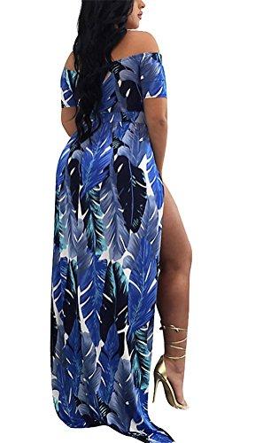 Brinny Femme Combinaison Pants Short Imprimé plumes épaule nue Châle Jumpsuit Bodysuit Fendus Robe Plage Cocktail Soirée Partie Taille: S - XL Violet & Bleu