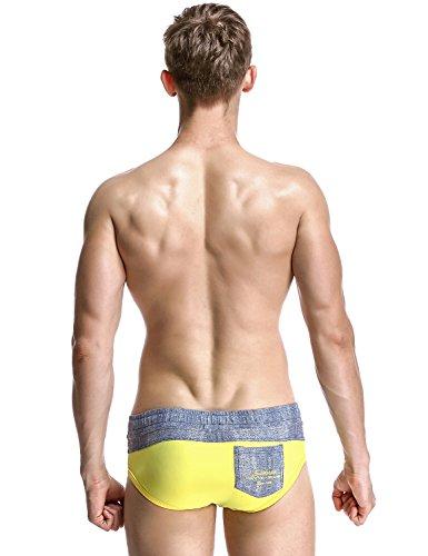 SEOBEAN Herren Badehose schwimmen Bademode Boxer Slip Trunk Badeshorts 2859 Gelb