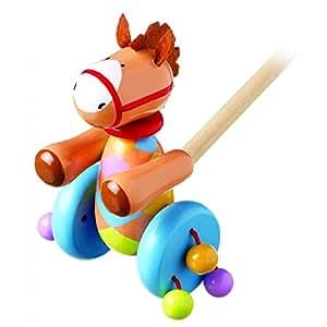 Orange Tree Toys Push Along Wooden Toy - Pony