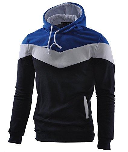 Mooncolour Herren-Sweatshirt Color Block Hoodie, Sport, Outwear Gr. S, dunkelblau Drawstring Jersey Sweatshirt