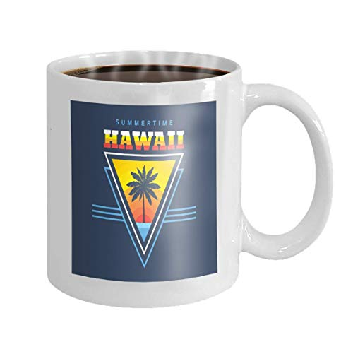 11 oz Kaffeebecher Hawaii Summertime Concept Vintage Retro Graphic Style Other Print Production Palms Sun Novelty Ceramic Gifts Tea Cup