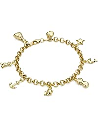 Carissima Gold 9ct Yellow Gold 8 Charm Semi Hollow Round Belcher Bracelet of 19cm/7.5""