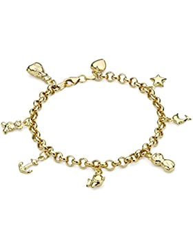 Carissima Gold 9 Karat 375er Gelbgold 8 Talisman Bettelarmband 19cm