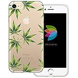 dessana Cannabis Weed transparente Silikon TPU Schutzhülle 0,7mm dünne Handy Tasche Soft Case für Apple iPhone 7 Cannabis Muster