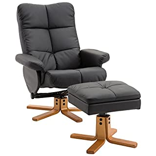 HOMCOM Relaxsessel Fernsehsessel Sessel mit Hocker Liegefunktion Holzgestell Schwarz 80 x 86 x 99cm