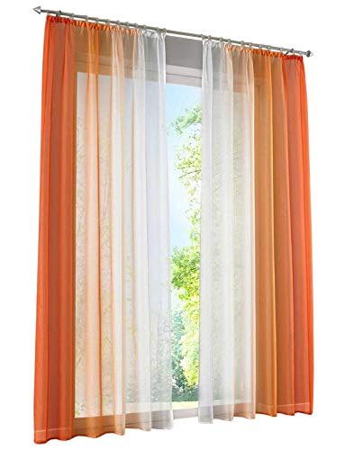 iovivo Voilage Samira /à passants 245 x 140 cm orange
