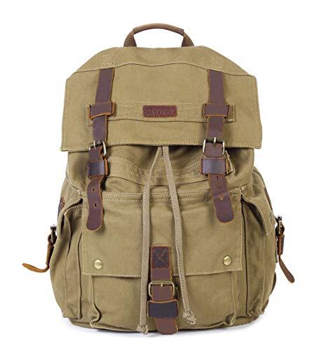 OORDEE Groß Segeltuch Leder Rucksack Camping Reise Wandern Outdoorrucksack Daypacks für Laptop bis 15 Zoll Schulrucksack (Armee-Grün)